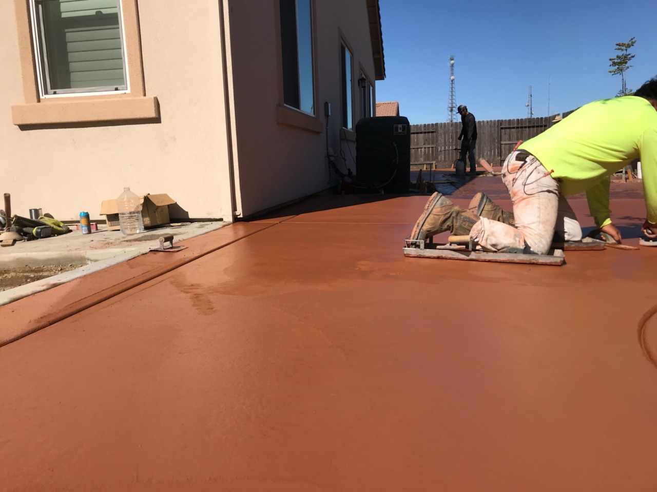 this is an on going project for stained concrete in pleasanton, ca